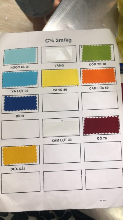 Bảng màu vải cotton 100%